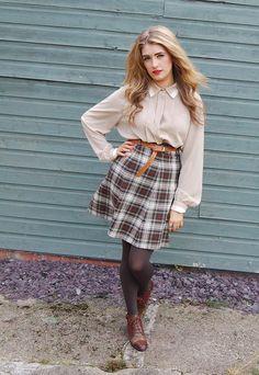 BottleGreenVintage boutique asos marketplace - tartan skirt, blouse and oxblood brogues