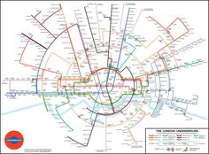 After redesigning the iconic London underground tube map last year using concentric circles, Dr Max Roberts has now taken the same approach to the New York subway. London Underground Tube, Underground Map, London Tube Map, London Map, London Places, Transport Map, London Transport, Nyc Subway Map, Metro Paris