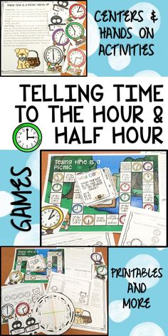 Learning to tell time to the half hour has never been so much fun!  This picnic themed unit is jammed pack with everything you could possibly need for one week of math instruction.  Lesson plans, printables, number chats,  fun games, activities and much more all with minimal prep and planning time for the teacher.  This unit was created to introduce younger elementary kiddos to telling and recording time to the hour and half-hour.
