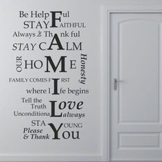 Amazon.com: FAMILY I LOVE YOU Removable Wall Decal Sticker DIY Art Decor Mural Vinyl Home Room House Rules: Home & Kitchen