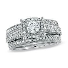 1 CT. T.W. Diamond Three Piece Bridal Set in 14K White Gold - GreenTag - Zales