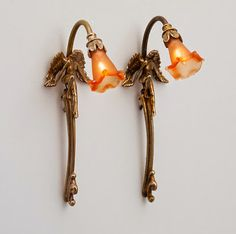 Fabulous pair of Bronze Wall Sconces with Amber Shades. Good Sam Showcase of Miniatures