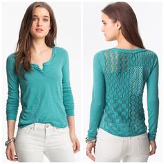 """Free People Patchwork Lace Back Tee This cute Henley top has a patchwork backside that gives it extra style & a cool boho feel.{actual color of item may vary slightly from pics}  *shoulders:23"""" *chest:21"""" *waist:22"""" *length:26.5""""/sleeves:30.5"""" *material/care:100% cotton/hand wash  *fit:true/oversized  *condition:preloved/no rips/stains   20% off bundles of 3/more items No Trades  NO HOLDS No transactions outside of Poshmark  No lowball offers Free People Tops Tees - Long Sleeve"""