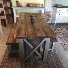 Farmhouse Table With Bench, Diy Dining Table, Rustic Table, Barnwood Dining Table, Barn Table, Wood Tables, Side Tables, Dining Area, Rustic Decor