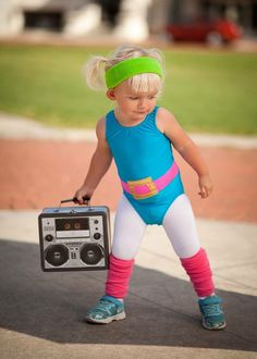 DIY 1980's toddler workout girl