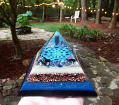 Orgonite Pyramid SRI YANTRA Lapis Sodalite by 432oneness on Etsy