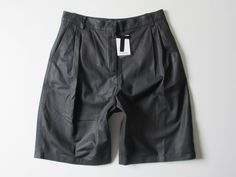 NWT T by Alexander Wang Black Lamb Leather Wide Leg Pleat Skater Shorts 4 $1185 #TAlexanderWang #WideLeg