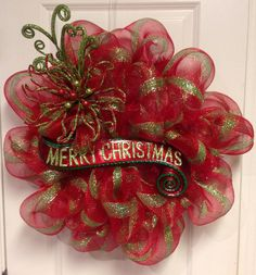 Red and Green Striped Christmas Wreath Deco Poly Mesh by lace554, .