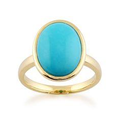 Gemondo 9ct Yellow Gold 3.00ct Oval Turquoise Framed Ring #Gemondo