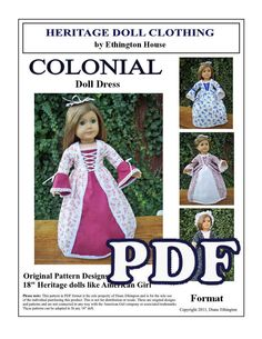 Original Design Colonial  Evening Dress & Hair Cap Pattern for 18 inch or American Girl Doll. $6.00, via Etsy.