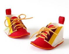 WaWa Red baby shoes boys & girls baby booties Retro by LaLaShoes, $46.00