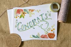 Watercolor Congratulations Card/ Celebration by TheHoneyBeePaperie