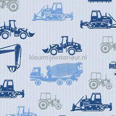 Bouwmachines blauw grijs behang 357064 uit de collectie Esprit Kids 5 AS Creation is verkrijgbaar bij kleurmijninterieur