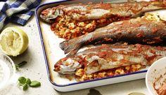 Fülle die Forelle mit weichem Fetakäse, würzigem Basilikum, Ajvar und beträufle sie noch mit etwas Zitronensaft und dann ab in den Backofen!