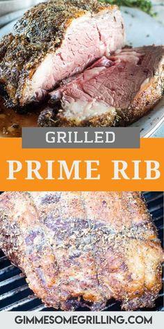 Bbq Prime Rib, Grilled Prime Rib, Boneless Prime Rib Roast, Smoked Prime Rib, Grilled Roast, Smoked Ribs, Rib Recipes, Roast Recipes, Grilling Recipes