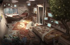#environment #interior Hackers den, computers, displays, hammock, bedroom