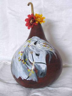 Horse with Flowers Gourd Art