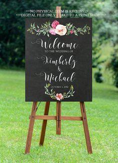 chalkboard wedding sign printable wedding sign custom