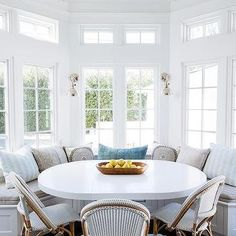 A Vaulted Ceiling Stands Over A Breakfast Nook Filled With