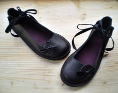 UK 7 Handmade shoes JET black leather BOBBIN by by Fairysteps, £124.00...love these!