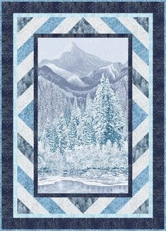 Lake Views designed by Ariga Mahmoudlou for RK. Features First Snow by Studio RK, shipping to stores May 2020. Three colorways (ice, pine, winter). Free pattern available for download May 2020 (robertkaufman.com) #FREEatrobertkaufmandotcom
