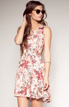 Pynk Nylon Women's Ivory Floral Dress: Clothing. (I really want a dress with a similar style and slightly different print ~v)