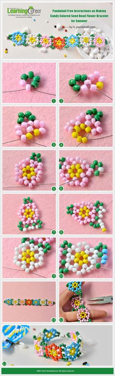 Pandahall Free Instructions on Making Candy Colored Seed Bead Flower Bracelet for Summer from LC.Pandahall.com