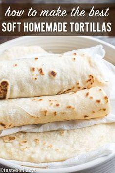 Homemade Flour Tortillas Recipe {Hints to keep them soft and pliable!} - Homemade Flour Tortillas Recipe {Hints to keep them soft and pliable! Soft Tortilla Recipe, Tortilla Bread, Flower Tortilla Recipe, Soft Taco Shell Recipe, Mexican Tortilla Recipe, Tortilla Recipes, Tortilla Shells, Authentic Mexican Recipes, Gastronomia