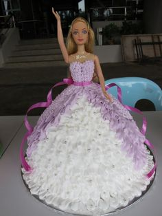 Birthday cake Doll ✅ Best 79 ideas of Birthday cake Doll 2019 with our website HD Recipes. Barbie Birthday, Cool Birthday Cakes, Birthday Cake Girls, Barbie Cake, Dress Cake, Cute Cakes, Yummy Cakes, Girl Cakes, Beautiful Cakes
