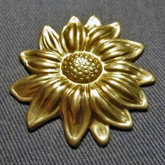 Vintage Decorative  Brass Sun Flower Stamping 31mm  1950's Vintage Raised Pattern by oscarcrow on Etsy