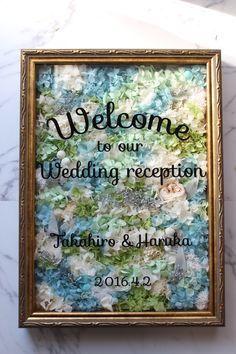 爽やかな風の吹くようなウェルカムボード Wedding List, Friend Wedding, Wedding Signs, Diy Wedding, Wedding Reception, Wedding Welcome Board, How To Preserve Flowers, Message Card, Flower Boxes