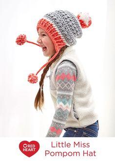 Little Miss Pompom Hat Free Crochet Pattern in Red Heart Yarns -- Crochet a  hat b20070e2c6c5