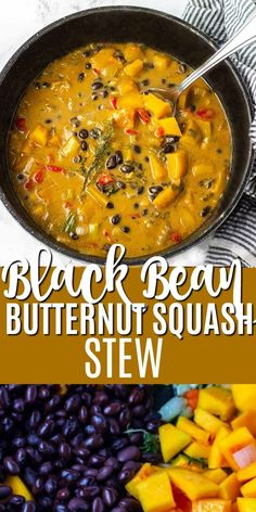Delicious and easy Black Bean Butternut Squash Stew that is made from simple ingredients and ready in minutes. Delicious and easy Black Bean Butternut Squash Stew that is made from simple ingredients and ready in minutes. Vegan Dinner Recipes, Veggie Recipes, Whole Food Recipes, Vegetarian Recipes, Cooking Recipes, Healthy Recipes, Vegetarian Stew, Vegan Bean Recipes, Vegan Recipes With Black Beans
