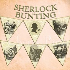 SHERLOCK HOLMES BUNTING digital printable bunting download for scrapbooking, party printables and graphic design.. $5.00, via Etsy.