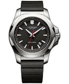 Victorinox Swiss Army Men's Inox Black Rubber Strap Watch 43mm 241682.1