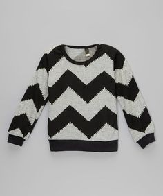 Loving this Black & Gray Chevron Sweater - Toddler & Kids on #zulily! #zulilyfinds