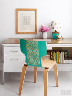 Stencil + spray paint = stylish chair revamp