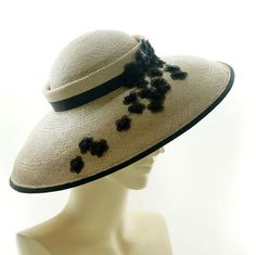 Vintage Style SAUCER HAT / Taupe Panama Straw BOATER Hat For Women / Handmade by Marcia Lacher Millinery