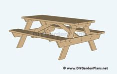 Woodworking 101 We show you plans and simple instructions to build a durable Deck Build your own picnic table with these free building plans Build A Picnic Table, Camping Table, Picnic Tables, Deck Building Plans, Diy Deck, Bench Plans, Garden Table, Woodworking Bench, Woodworking Projects