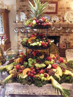 Fruit display wedding - showers girlsu Small Wedding Reception Food Ideas night in menu ideas everyone will love bridal … – Fruit display wedding Fruit Centerpieces, Fruit Decorations, Fruit Arrangements, Wedding Reception At Home, Small Wedding Receptions, Dessert Wedding, Reception Ideas, Table Wedding, Wedding Ideas