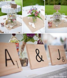 Scrabble Wedding Theme, using scrabble letters to name tables and as décor is a cute way to personalize a wedding for the couple that loves a good board game.