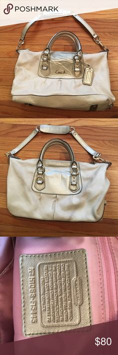 Authentic Genuine Leather Coach Purse Authentic genuine leather gold Coach purse with pink interior and gold accents. Used, in good condition. Does have a small amount of discoloring on back from usage. Coach Bags Shoulder Bags