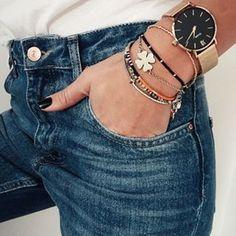 It's a denim day! Love the gold & silver bracelet combo!