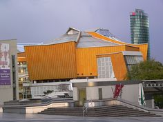 """Designed by Hans Scharoun, the """"Philharmonie"""" is the eptiome of architecture in Berlin's Kulturform complex. Philharmonic Hall by pov_steve, via Flickr"""