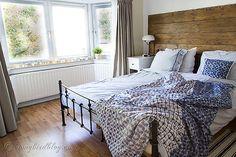 Bedroom Inspiration // Repurposed Wood Headboard, Ikea Accents, Neutrals,  Bay Window Treatment