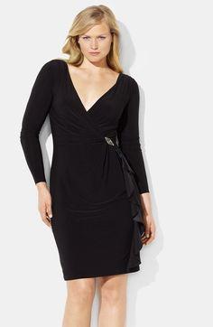 Lauren Ralph Lauren Ruffle Matte Jersey Sheath Dress (Plus) available at #Nordstrom