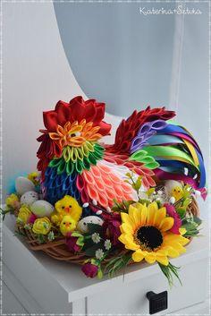 Katerina&Sztuka by Pasjonata-Art Ribbon Art, Diy Ribbon, Ribbon Crafts, Kanzashi Tutorial, Free To Use Images, Fabric Ornaments, Easter Party, Easter Table, Easter Eggs