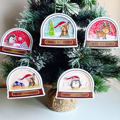 Lawn Fawn Ready Set Snow & Toboggan Together Shaker Christmas Gift Tags by anuyami