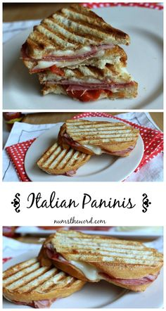 Italian Panini- sandwiches are one of the best quick meals. The bonus is that you can change up your sandwich any which way, in this case the Italian panini style. The Word Sandwich Fillings, Sandwich Shops, Soup And Sandwich, Quick Sandwich, Panini Sandwiches, Wrap Sandwiches, Paninis, Italian Panini, Italian Lunch