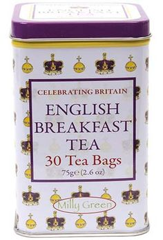 Celebrating Britain English Breakfast Tea tin of teabags decorated with artwork of royal symbols: St. Edward's Crown and the Royal Orb, in gold and purple on white tin